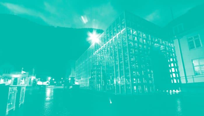 Bildet av sentrum på Rjukan