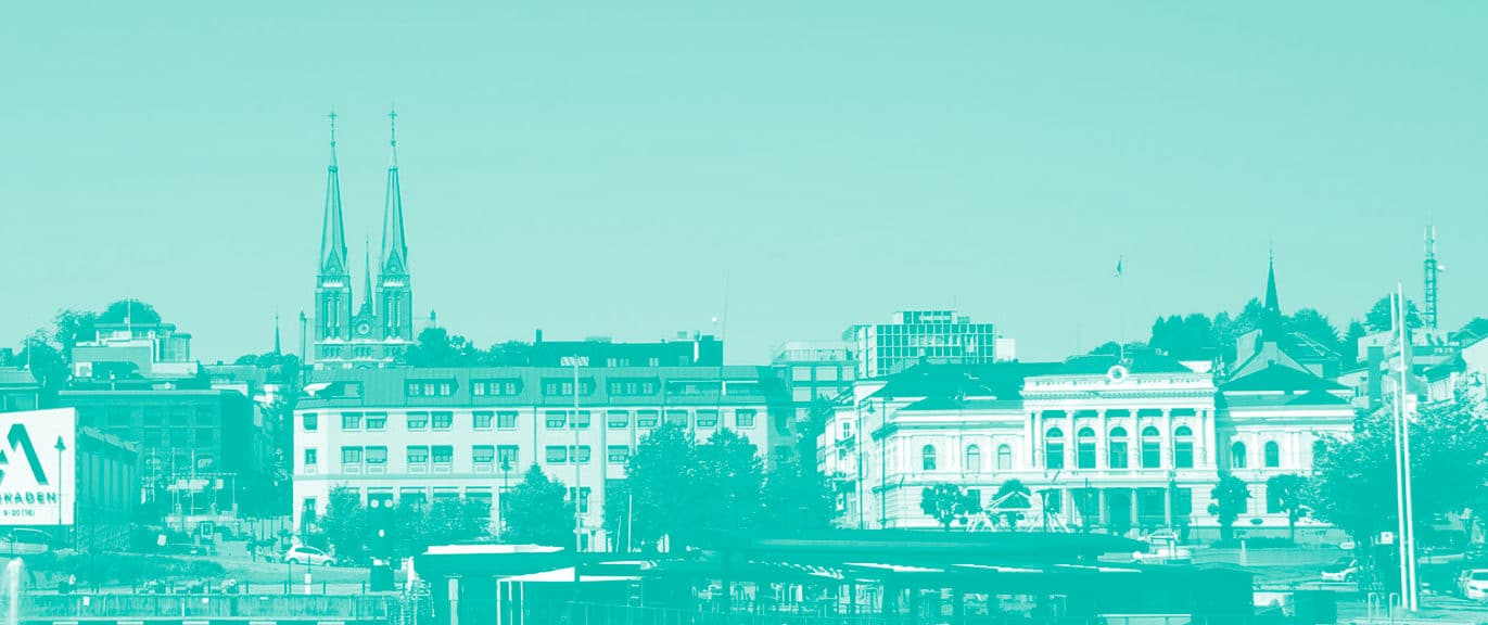 Havnebilde av Skien sentrum